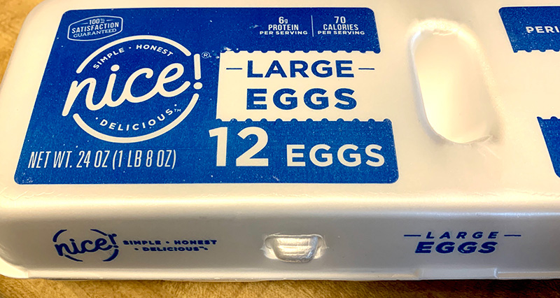 Photo of an egg carton with the brand name Nice Large Eggs.
