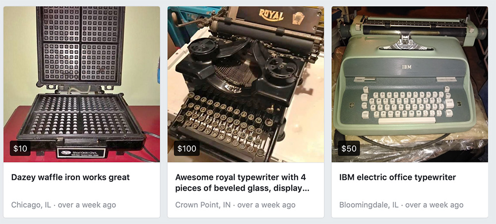 Screenshot of the results of a search for typewriters in Facebook Marketplace show two typewriters and one opened waffle iron. The waffle iron looks sort of like a typewriter.