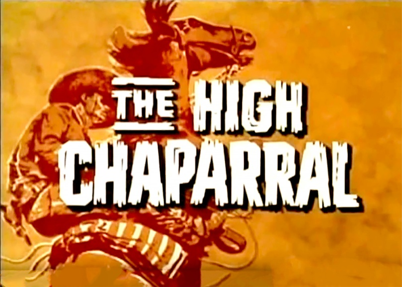Frame grab of opening title for The High Chaparral shows a bright orange slowing rider on a rearing horse with the show's title superimposed in a white, western-style typeface.