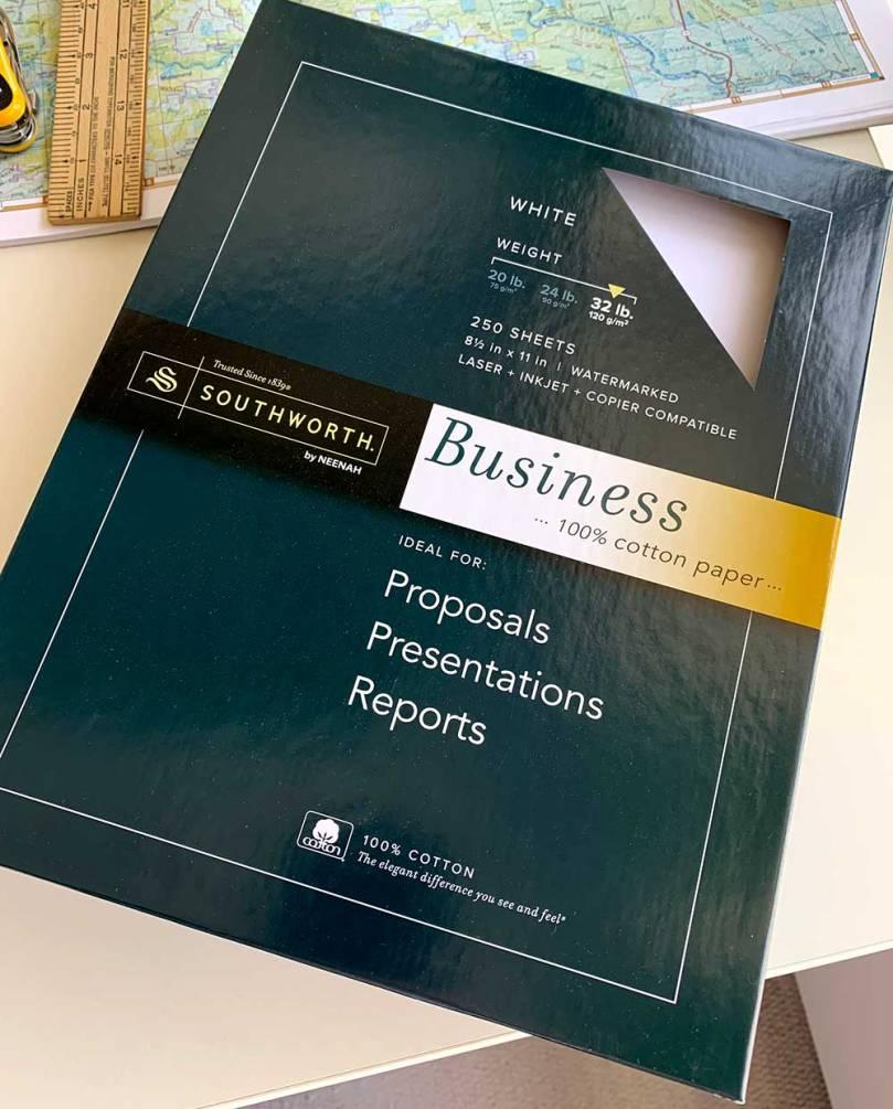 Photo of a box of Southworth Businessd 100 Percent Cotton Paper
