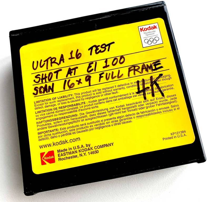 Photo of a bright yellow box made to hold Kodak 16mm film. Yellow is Kodak's longtimt corporate collor.