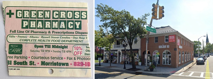 "At left is the back side of that little piece of paper. It has an add for Green Cross Pharmacy in Morristown, New Jersey. The pharmacy used to occupy the building with the ""Boutique 161"" sign."