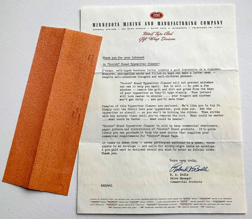 Here's the letter from 3M that included a sample of a special paper used to clean typewriter type slugs.